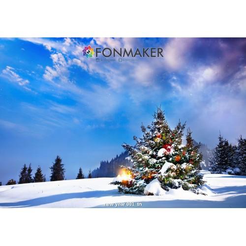 Фотофон Ёлка в Лесу для фотосъемки FONMAKER — НОВОГОДНИЙ 001