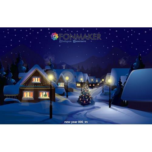 Фотофон Деревушка под снегом для фотосъемки FONMAKER — НОВОГОДНИЙ 006
