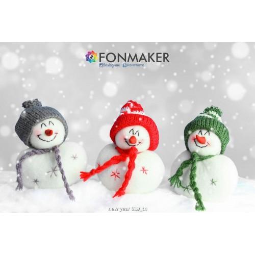 Фотофон Три Снеговика для фотосъемки FONMAKER — НОВОГОДНИЙ 019