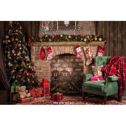 Фотофон Рождественский Камин для фотосъемки FONMAKER — НОВОГОДНИЙ 023