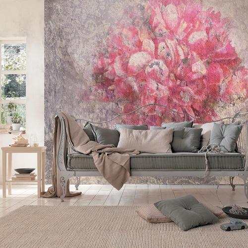 Фотообои Антимаркер розовые цветы на бетонной стене 6-a-630