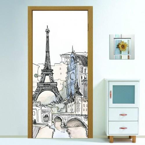 Фотообои Окно в Париж на дверь Антимаркер Door's c-023