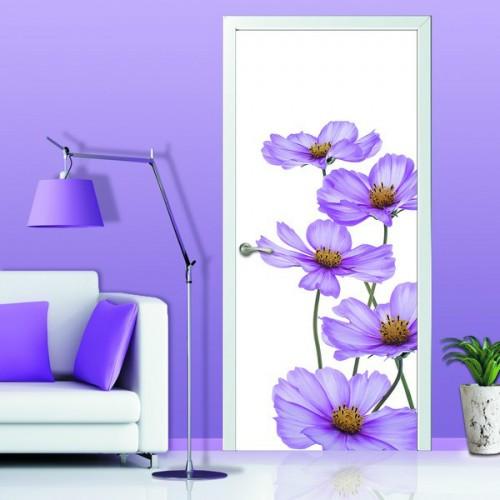 Фотообои Сиреневые Ромашки на дверь Антимаркер Door's c-056