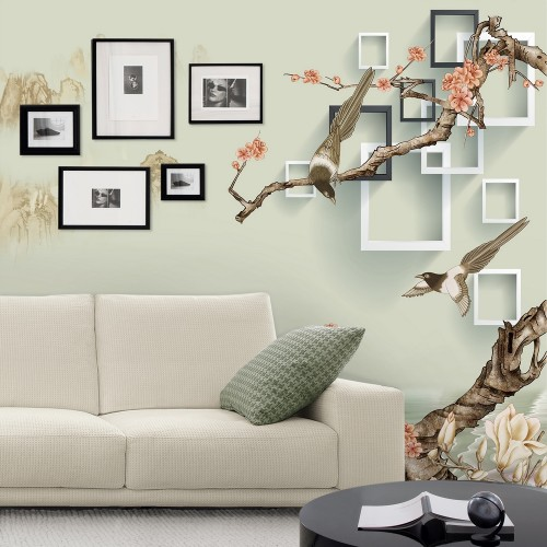 """Обои CityArt """"3D Птицы на цветущих ветках"""", СА3087-50, 300х270 см"""