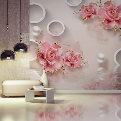 """Обои CityArt """"3D Фарфоровые розы"""", СА3093-50, 300х270 см"""