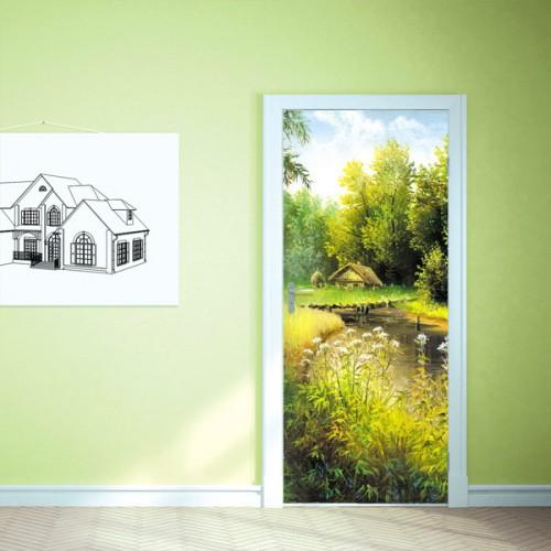Фотообои деревенский пруд Doorfix d-019