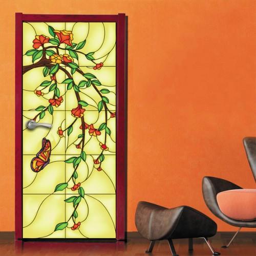 Фотообои витраж с цветами Doorfix d-048
