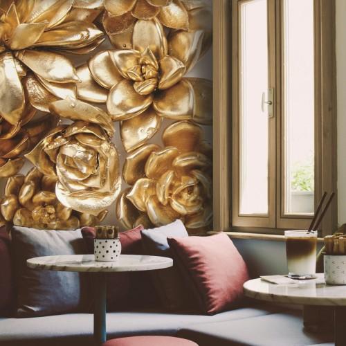 Обои Milan (Золотые цветы), М 158, 100x270 см