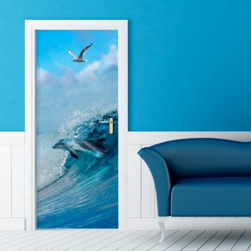 Фотообои дельфин на волне Wallfix w-279